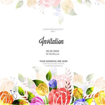 Ontwerp van de kaart van de uitnodiging met kleurrijke bloemen.