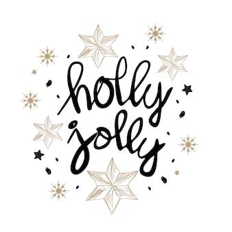 Ontwerp van de kerstmis het van letters voorziende kaart met hulst heel woorden