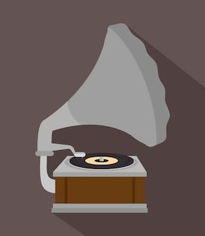 Ontwerp van de oude grammofoon geïsoleerd pictogram