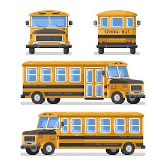 Ontwerp van de schoolbus het vlakke illustratie