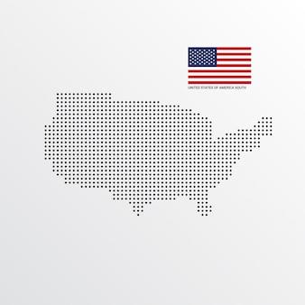 Ontwerp van de south map van de verenigde staten van amerika