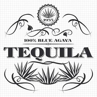 Ontwerp van de tequilabanner van de alcoholdrank op notitieboekjepagina