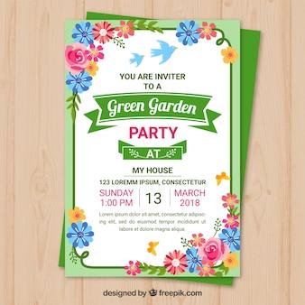 Ontwerp van de uitnodiging van de tuin partij sjabloon