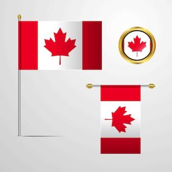 Ontwerp van de vlag van canada met badge vector zwaaien