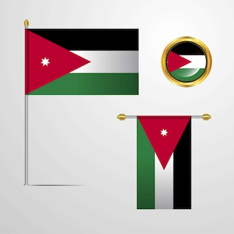 Ontwerp van de vlag van jordanië met badge vector zwaaien