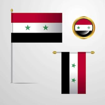 Ontwerp van de vlag van syrië met badge vector zwaaien