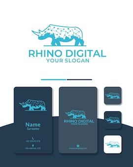 Ontwerp van digitaal logo van neushoorn