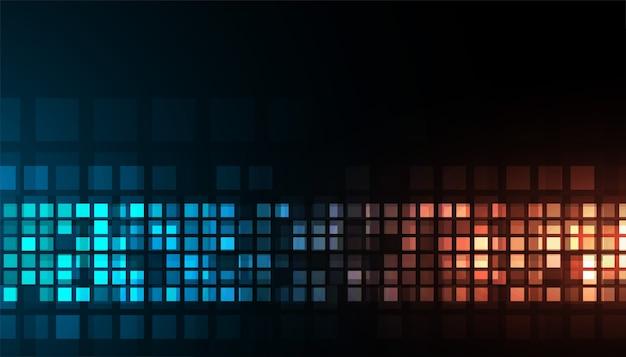 Ontwerp van digitale technologie glanzend blauw en oranje donker achtergrond