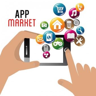Ontwerp van e-commerce en markt mobiele applicaties.