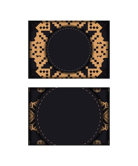 Ontwerp van een ansichtkaart in zwart met slavische patronen. vector uitnodigingskaart met plaats voor uw tekst en vintage ornamenten.