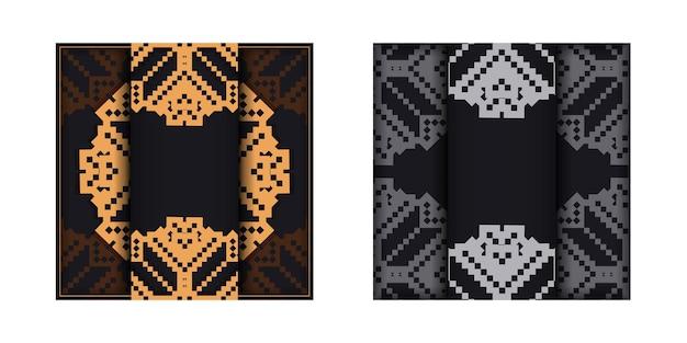 Ontwerp van een ansichtkaart in zwart met sloveense patronen. uitnodigingskaartontwerp met ruimte voor uw tekst en vintage ornamenten.