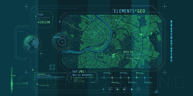 Ontwerp van een futuristische software-interface voor het volgen van de geografische positie.