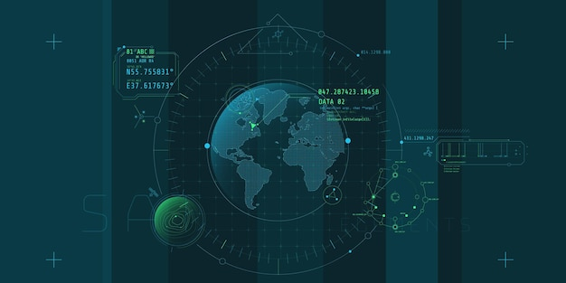 Ontwerp van een futuristische software-interface voor het volgen van een object op de planeet.