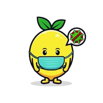 Ontwerp van een schattig citroenkarakter dat een masker draagt voor de illustratie van een platte mascotte van het preventievirus