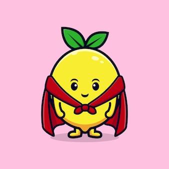 Ontwerp van een schattig citroenkarakter met een rode mantel, een platte mascotteillustratie