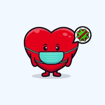 Ontwerp van een schattig hartkarakter met een masker voor de preventie van virus platte mascotteillustratie