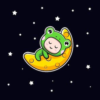 Ontwerp van een schattige jongen die een kikkerkostuum draagt dat op de maan slaapt