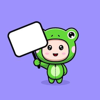 Ontwerp van een schattige jongen die een kikkerkostuum draagt met een leeg tekstbord
