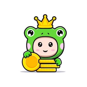 Ontwerp van een schattige jongen die een kikkerkostuum draagt met goud