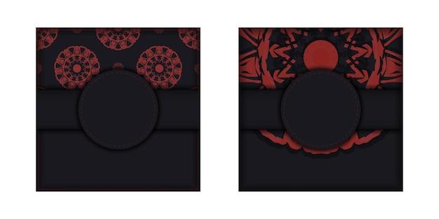 Ontwerp van een uitnodiging met een plek voor uw tekst en patronen. vectorontwerp van een ansichtkaart in zwarte kleuren met griekse ornamenten.