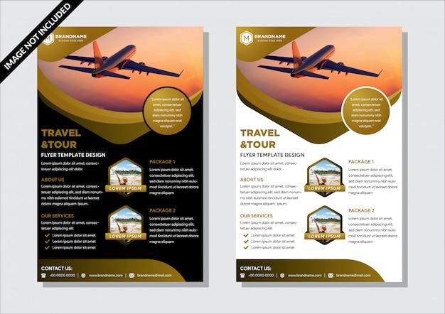 Ontwerp van flyer-sjabloon met zeshoekige ruimte voor foto. combinatiekleur is goud, zwart en donkergrijs