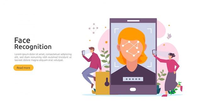 Ontwerp van gegevensbeveiliging met gezichtsherkenning. biometrisch gezichtssysteem scannen op smartphone.