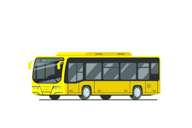 Ontwerp van gele stadsbus geïsoleerd op een witte achtergrond.