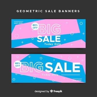 Ontwerp van geometrische banners voor aanbiedingen en kortingen