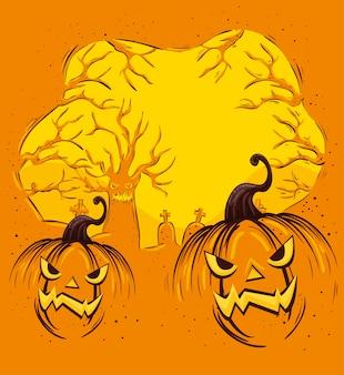Ontwerp van halloween met pompoenen en begraafplaats