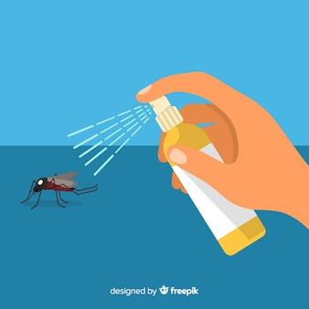 Ontwerp van hand met muggenspray