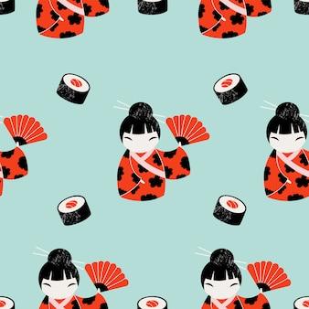 Ontwerp van het beeldverhaal het japanse patroon.