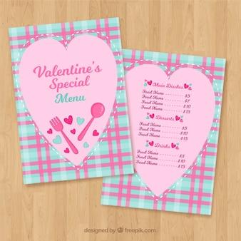 Ontwerp van het blauwe en roze valentijnskaartmenu