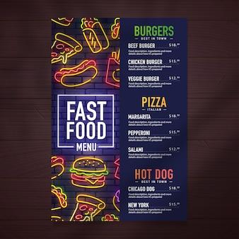 Ontwerp van het fastfoodmenu en voedselneon zingen illustratie.