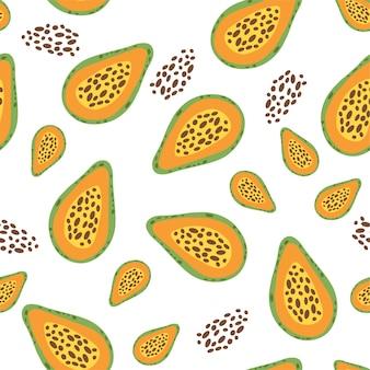 Ontwerp van het fruit het naadloze patroon met papaja.