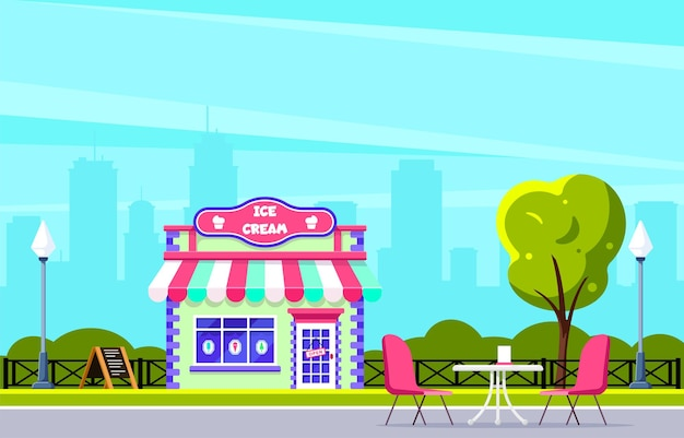 Ontwerp van het gebouw van de ijswinkel. stadsstraatcafé. grote stadssilhouet op achtergrond. vlakke stijl illustratie.