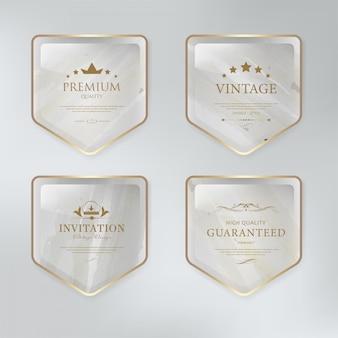 Ontwerp van het het etiketbadge van de marmeren textuur het uitstekende.