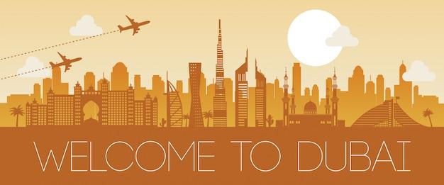 Ontwerp van het het oriëntatiepunt het oranje silhouet van doubai beroemde