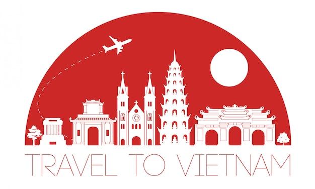 Ontwerp van het het oriëntatiepuntilhouet van vietnam het beroemde