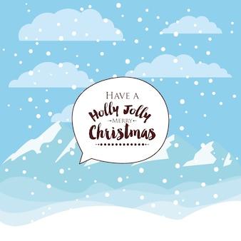 Ontwerp van het kerstmis het sneeuwlandschap geïsoleerde pictogram