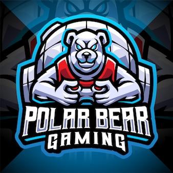 Ontwerp van het logo van de mascotte van de ijsbeer gaming esport