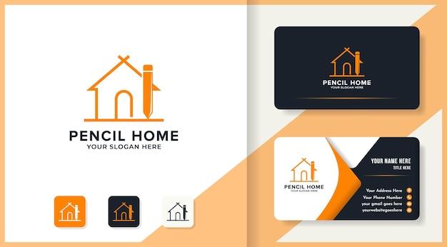 Ontwerp van het logo van het potloodhuis en visitekaartje