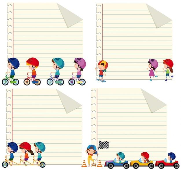 Ontwerp van het papier met kinderen rijden en rijden