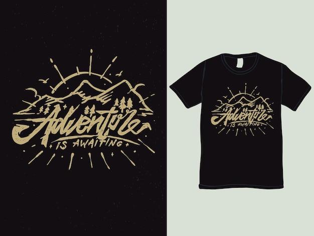 Ontwerp van het t-shirt van het bergavontuur