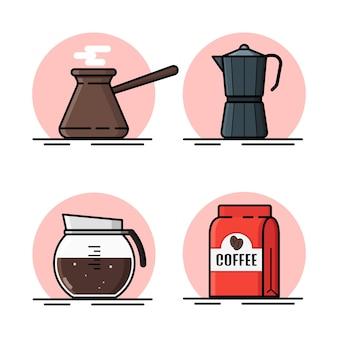 Ontwerp van horizontale banner met koffiemachine en koffie plat pictogrammen. koffie apparatuur banner. Premium Vector