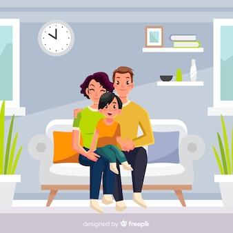 Ontwerp van jong gezin thuis