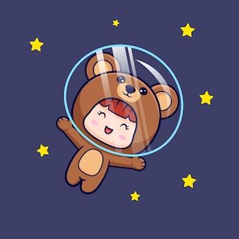 Ontwerp van leuk meisje dat berenkostuum draagt dat met ster op ruimte drijft