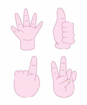 Ontwerp van menselijke handen het verschillende gebaar geïsoleerde pictogrammen