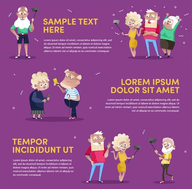 Ontwerp van mensen die gadgets gebruiken in poster