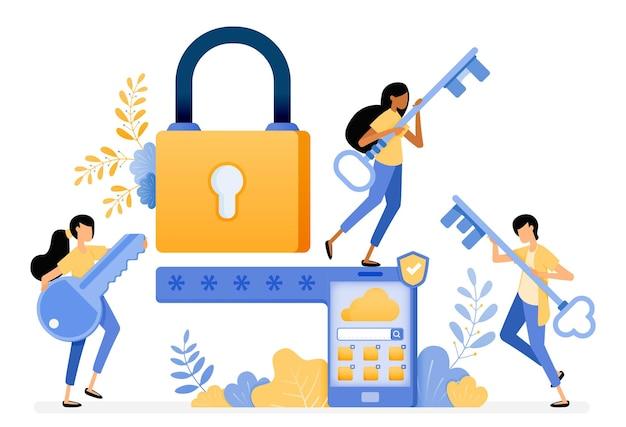 Ontwerp van mobiel beveiligingssysteem met wachtwoord en slimme beveiligingstechnologie.
