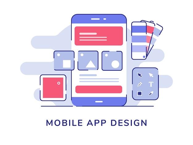 Ontwerp van mobiele app ui draadframe op display-smartphone